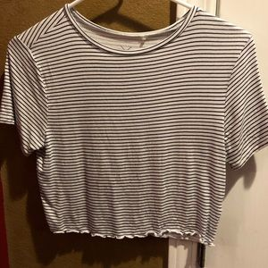 White and navy blue stripped crop top
